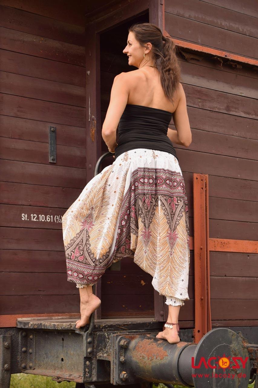 Haremshose Hosenkleid Feathers Damen Weiss  Lacozy Onlineshop
