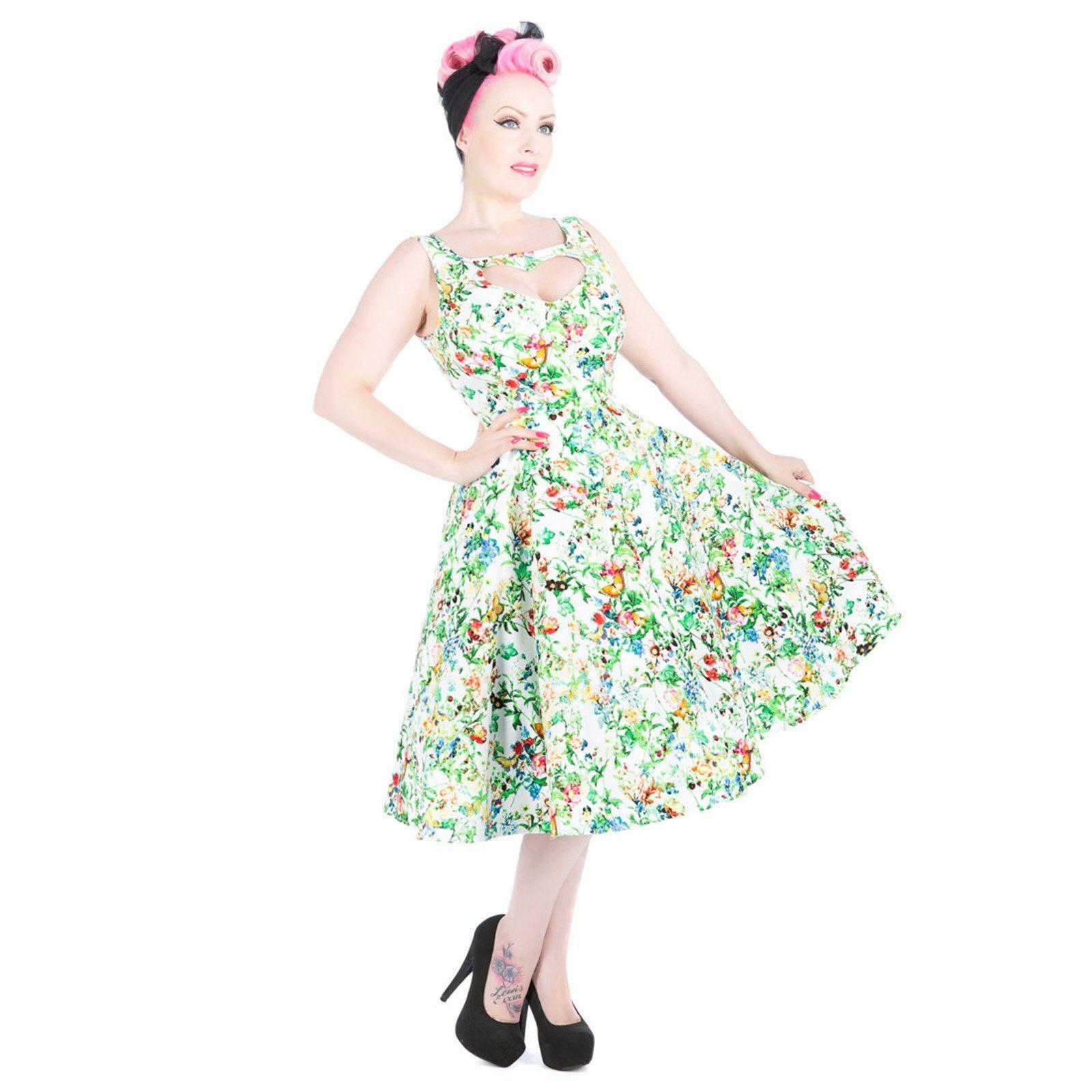Hearts & Roses London Grünes Blumenmuster Kleid 50Er Jahre