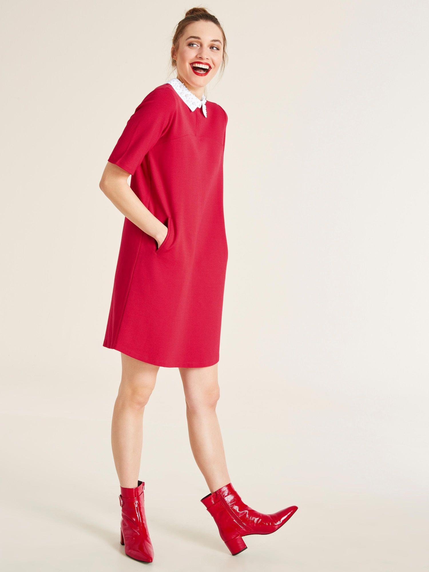 Heine Kleid Damen Rot Größe 44  Kleider Modestil