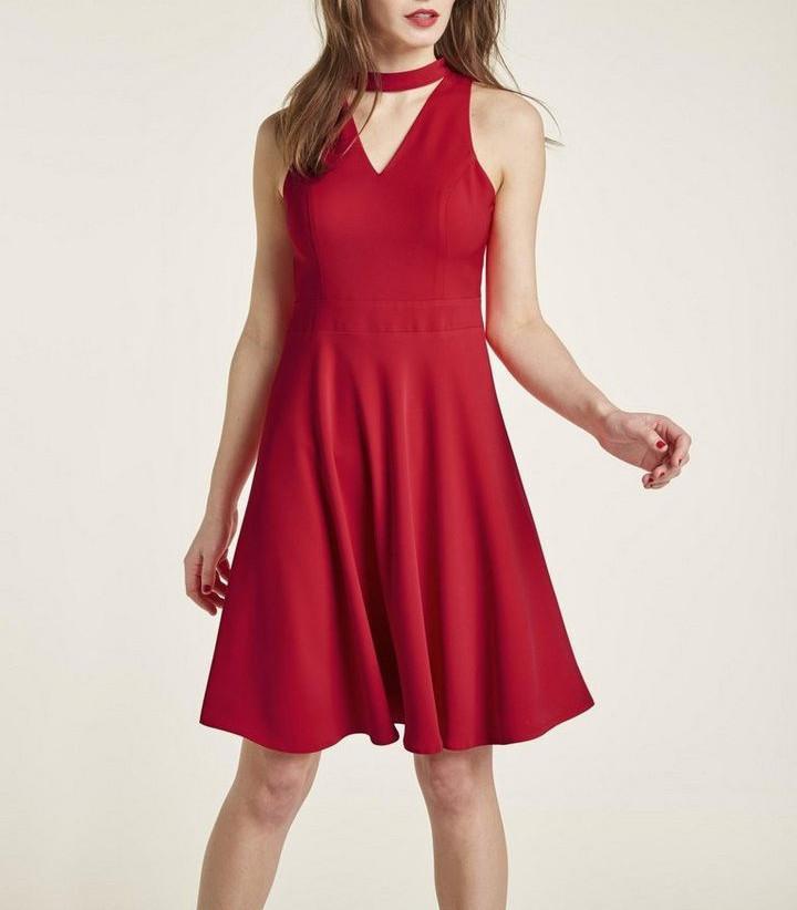 Heine Style Damen Kleid Jerseykleid Alinie Ärmellos Rot