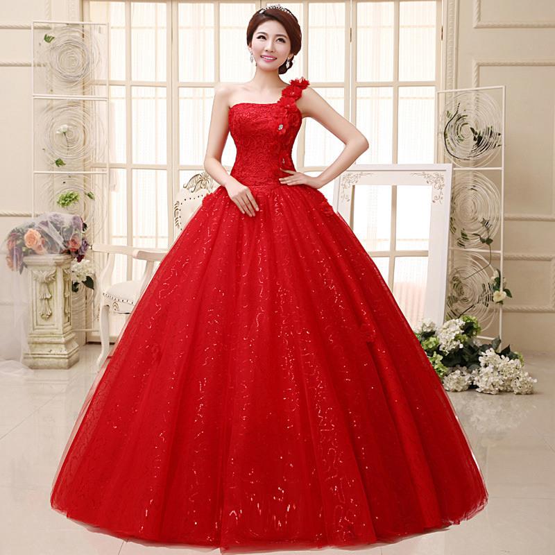 Heißen Kristall Prinzessin Spitze Braut Brautkleider Rot