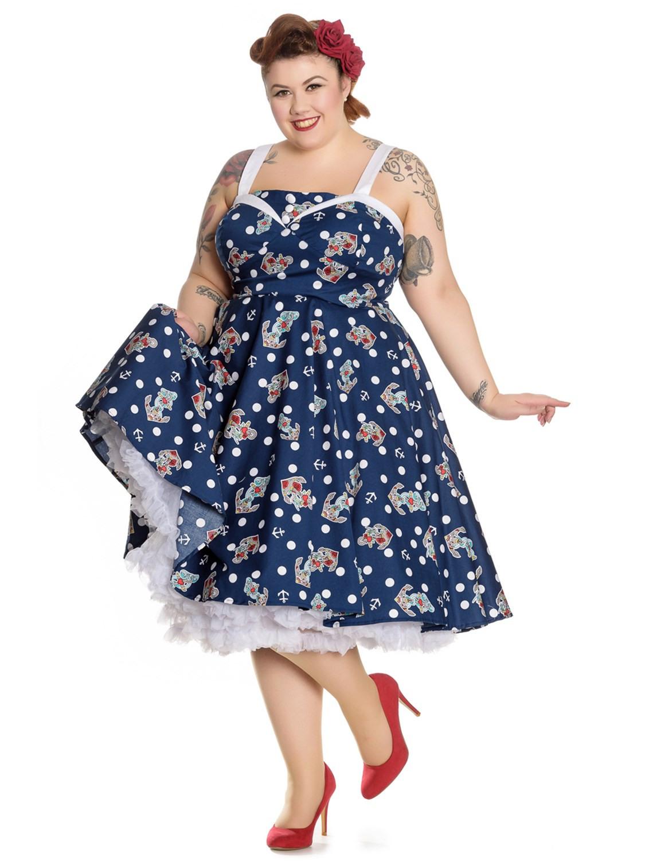 Hell Bunny Kleid Oceana 50'S Dress 4665 Marineblau