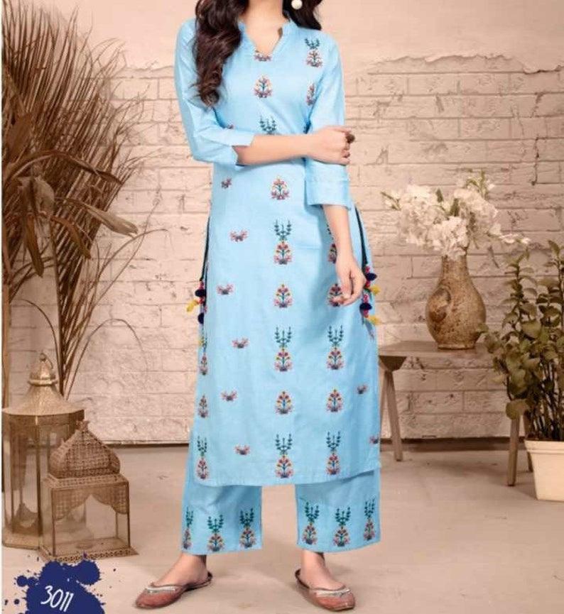 Hellblau Seite Geschnitten Kleid Mit Hose Stil Unten Gypsy