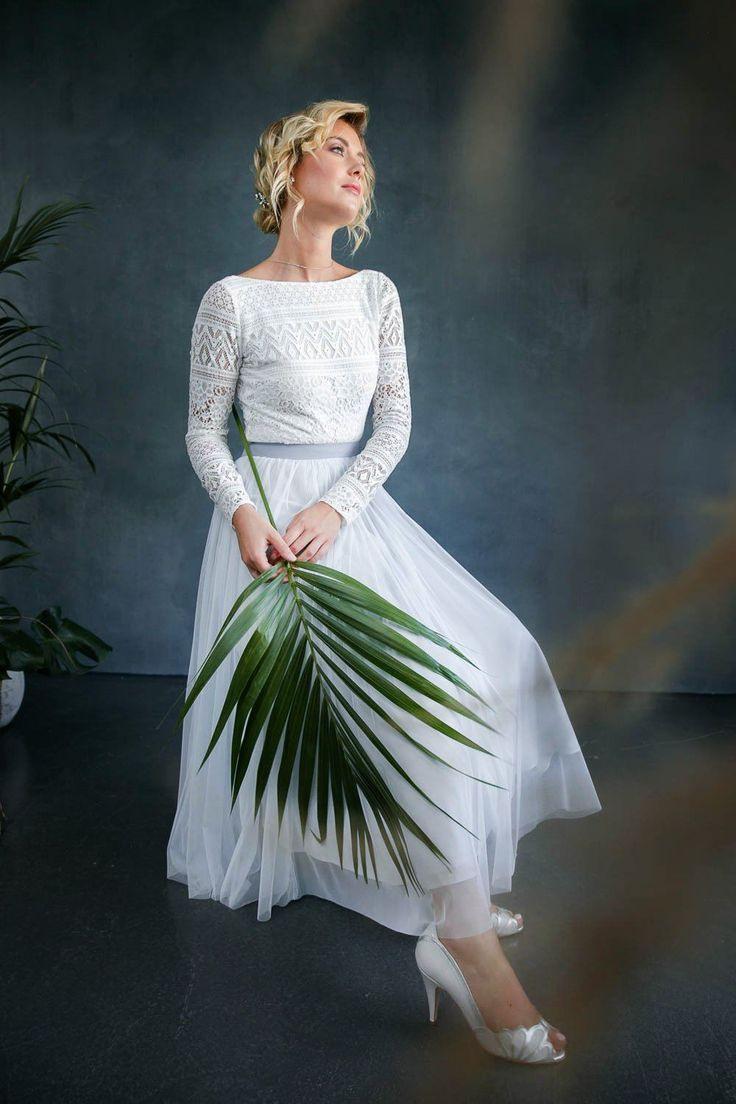 Hellblauer Midirock Aus Softtüll Für Brautkleid
