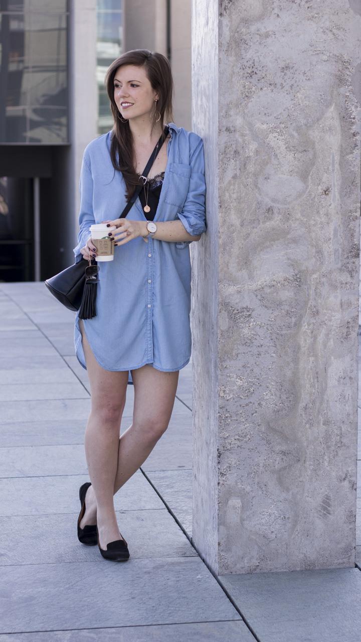 Hellblaues Hemdkleid  Luftig Durch Den Sommer  Justmyself