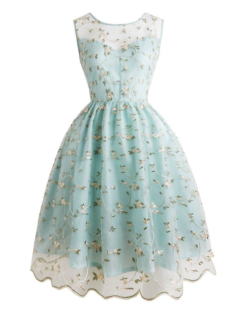 Helles Grünes Florales Stickrei Spitzen Kleid  Kleid