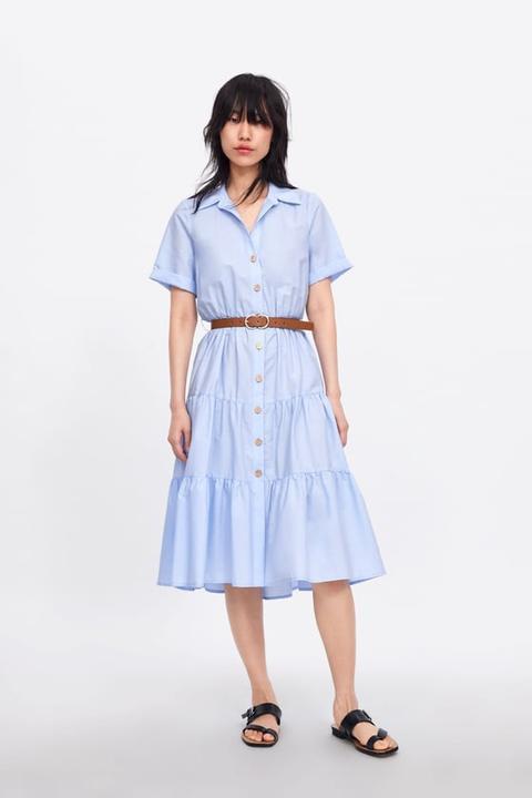 Hemdblusenkleid Mit Gürtel From Zara On 21 Buttons