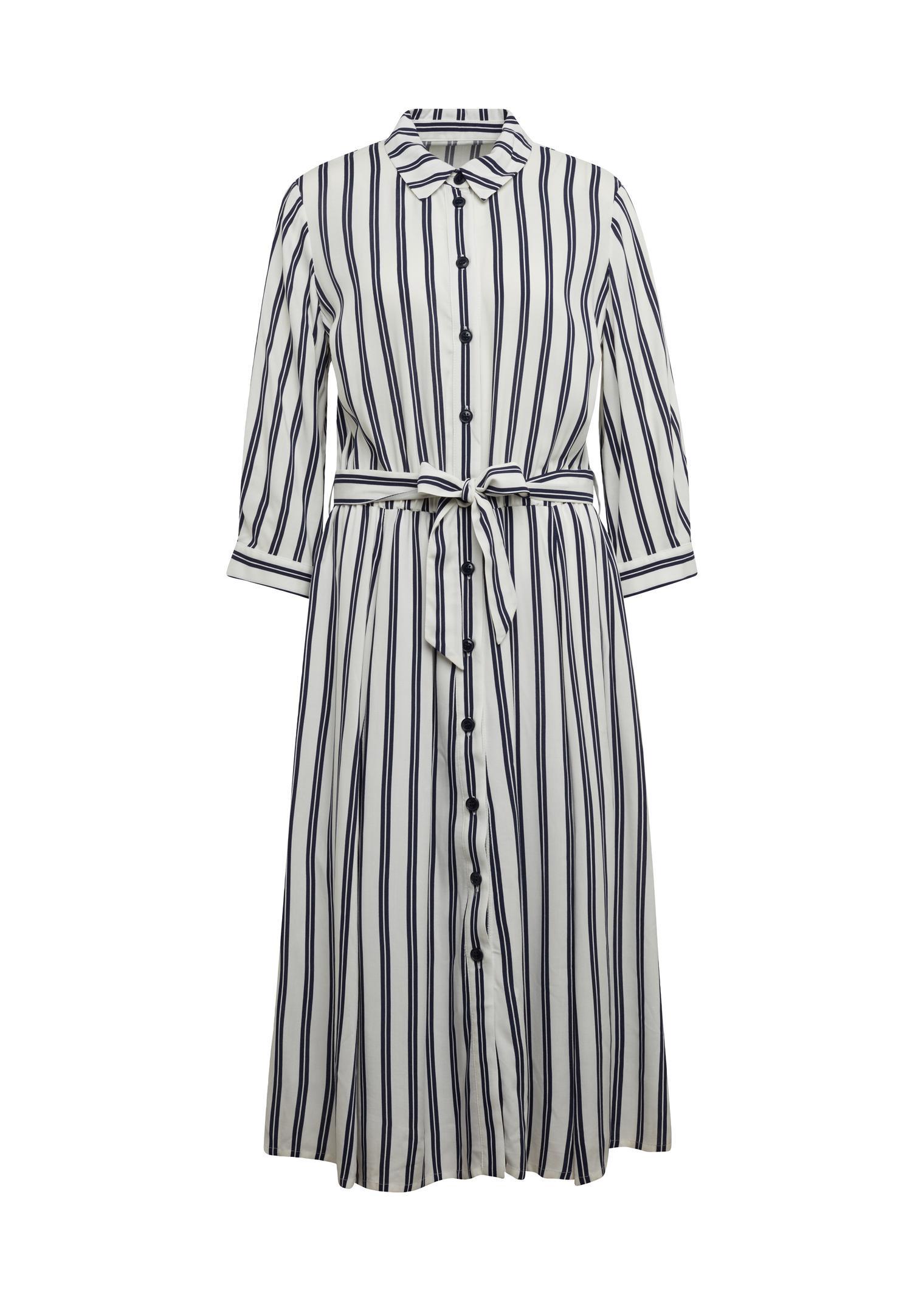 Hemdblusenkleid Mit Streckendem Streifendruck Online