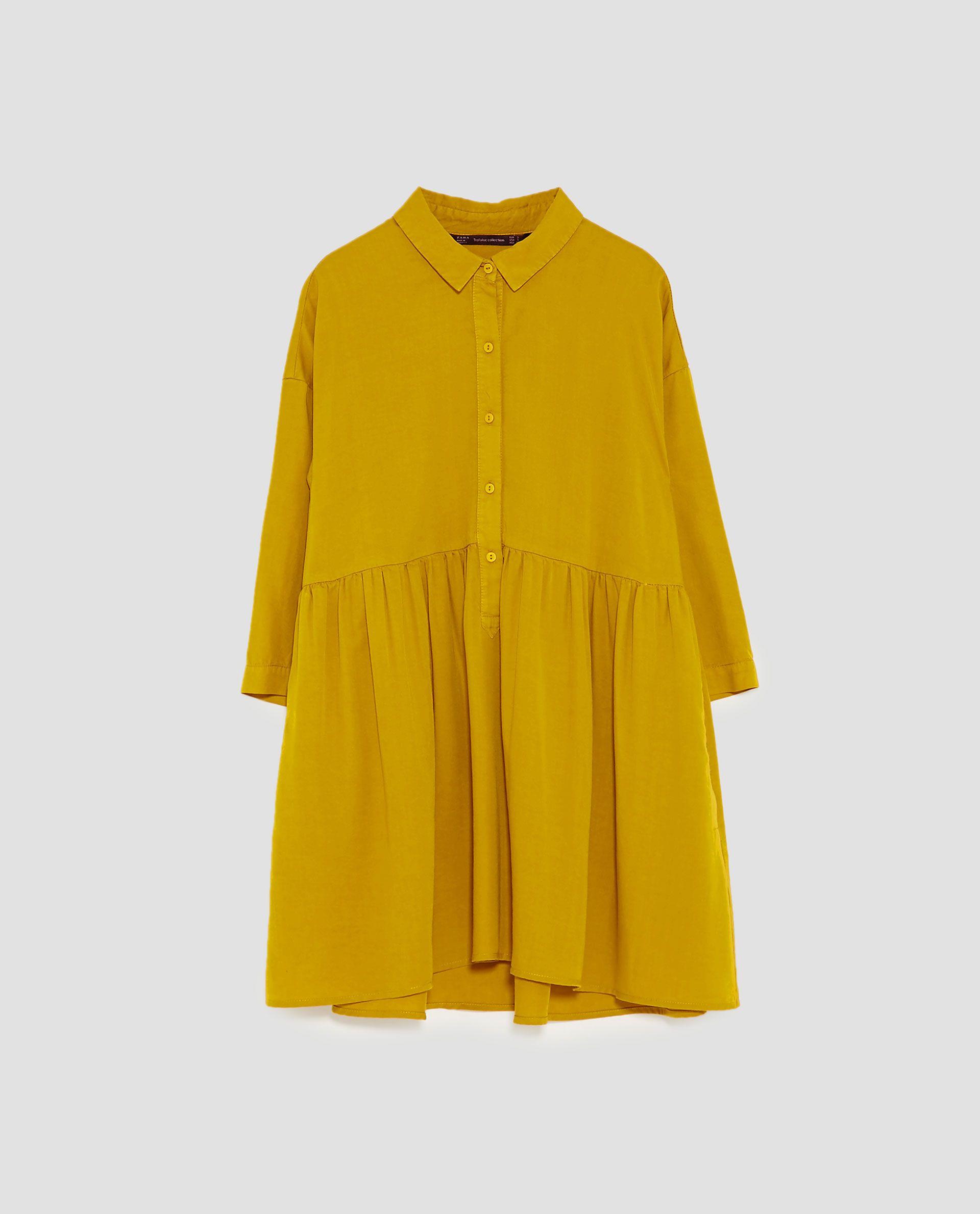 Hemdblusenkleid Mit Volants  Mini Shirt Dress Ruffle