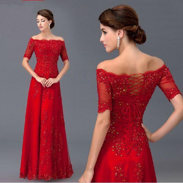 Herrlich Rot Spitze Ballkleider Abendkleider Kurzarm