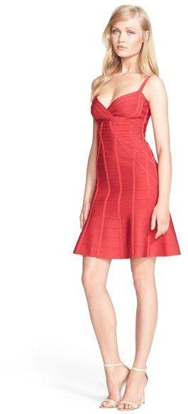 Herve Leger Vneck Flared Skirt Bandage Dress  Red