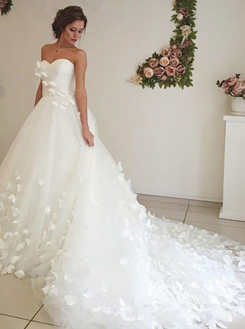 Herzausschnitt Gericht Schleppe Weiß Brautkleid Mit