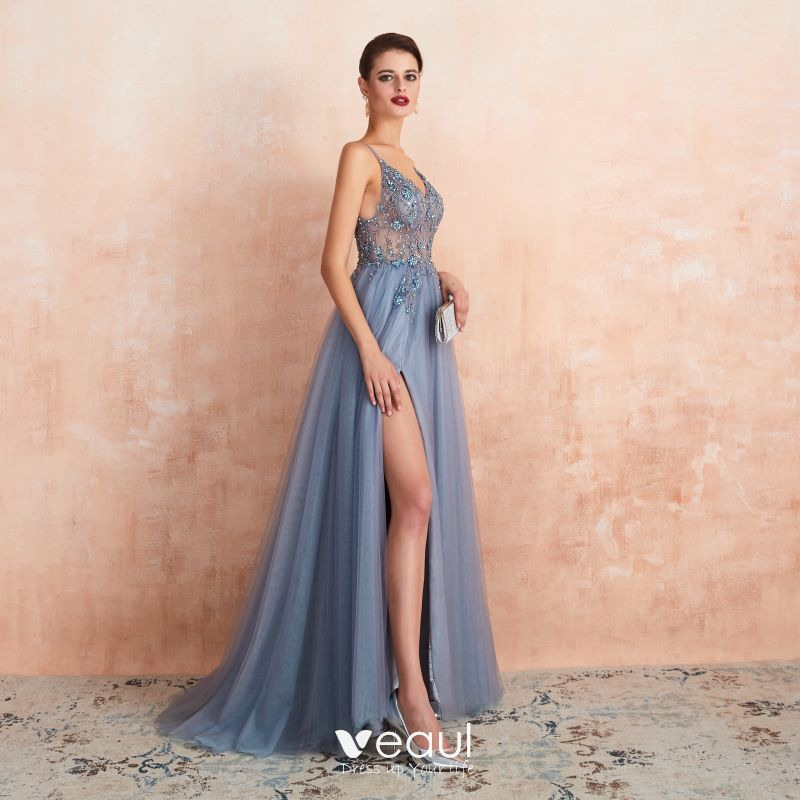 High End Sexy Himmelblau Durchsichtige Abendkleider 2020 A