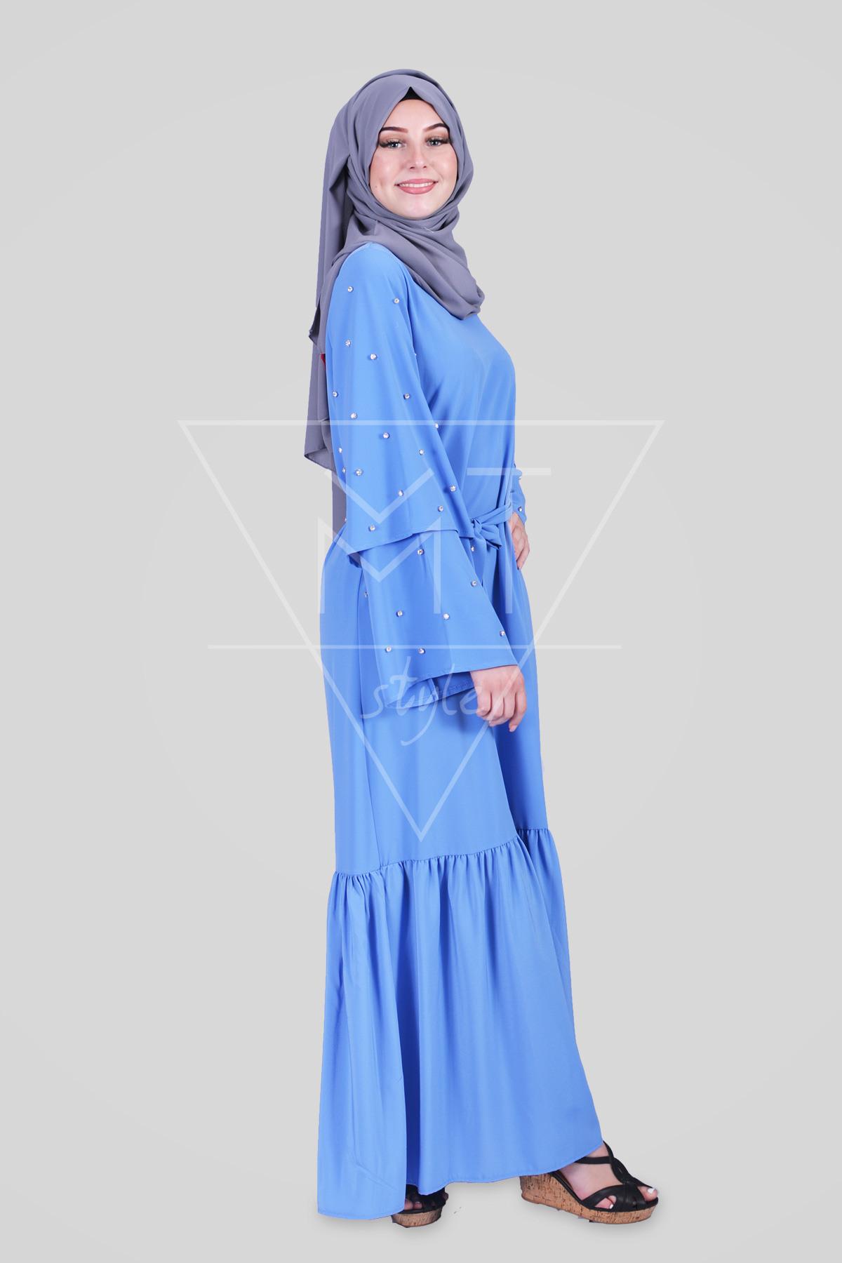 Hijab Kleid Mit Perlenbesetzten Ärmeln Mt0181
