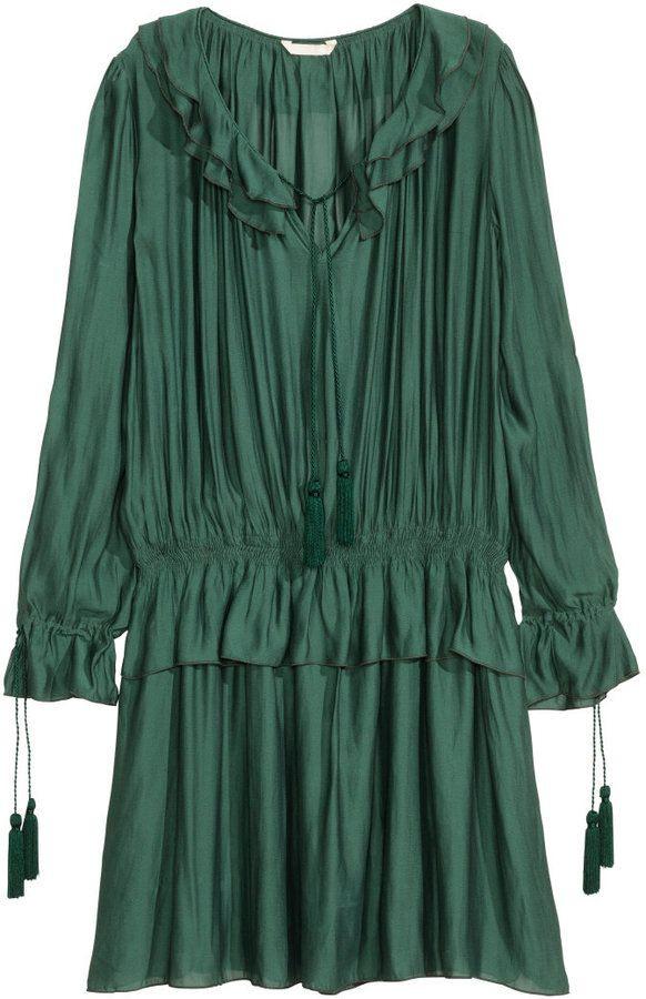 Hm Chiffon Dress  Teal  Chiffon Kleid Kleider