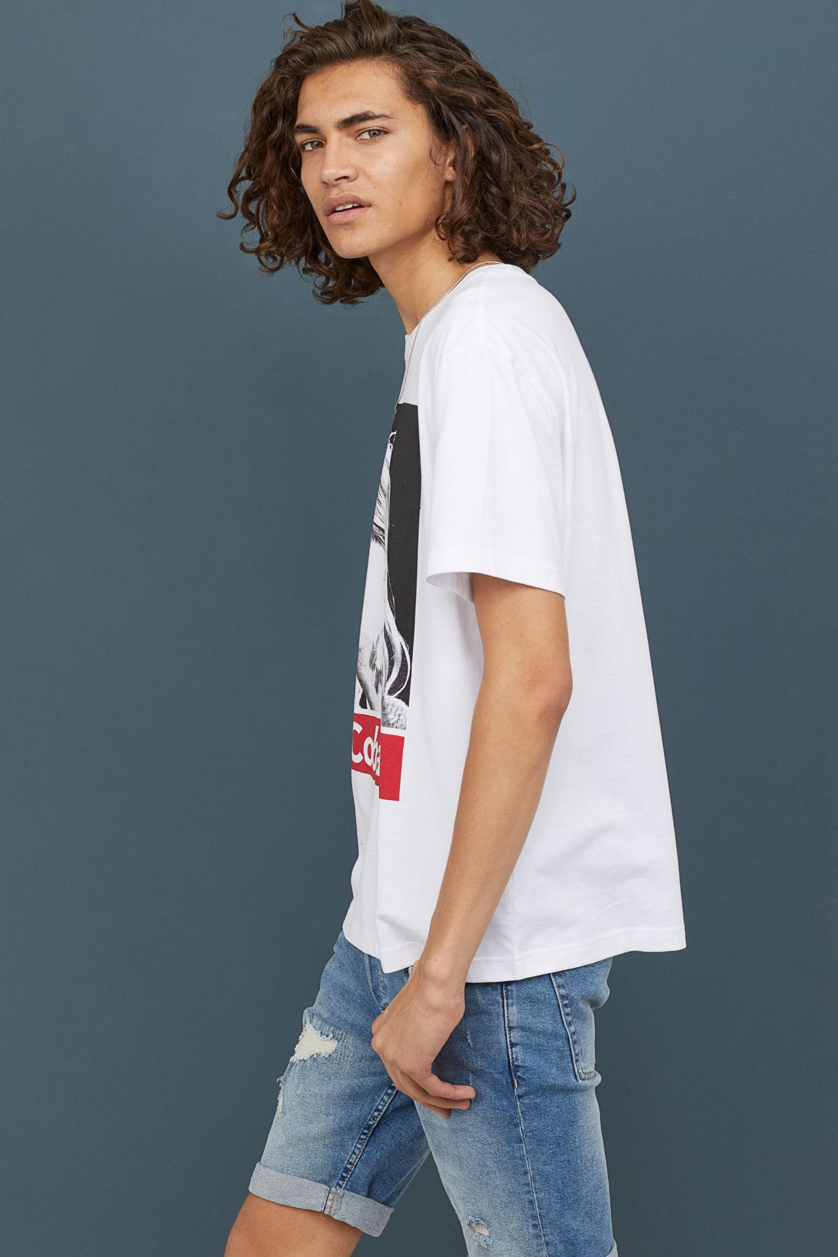 Hm Cotton Tshirt With Motif In White For Men  Lyst