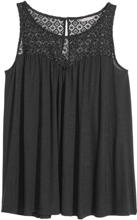 Hm  Hm Top With Lace Yoke  Black  Ladies  Fashion