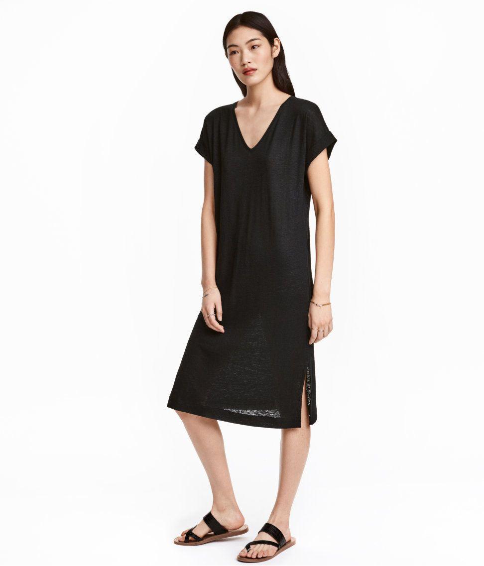 Hm Kleid Aus Leinenmischung 2999  Modestil Mode Kurze