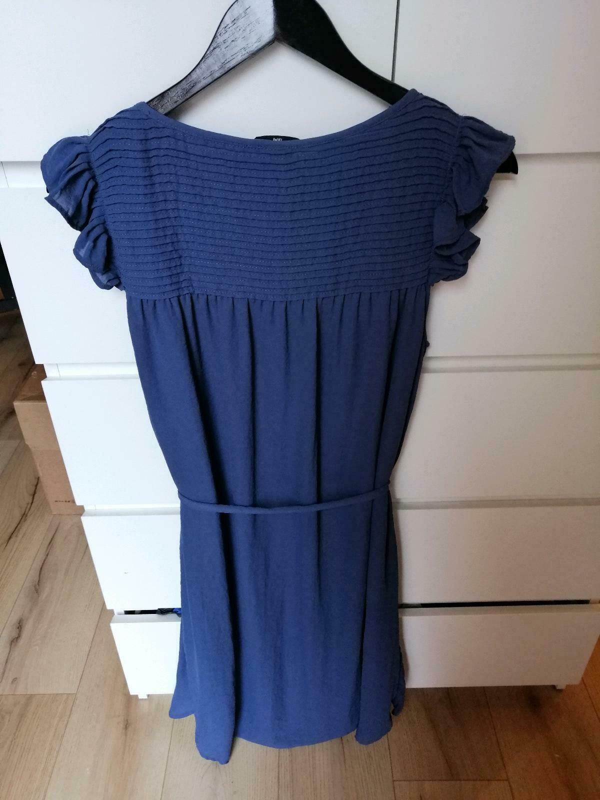 Hm Süßes Chiffon Kleid Tunika Taubenblau Rüschen Gr 44