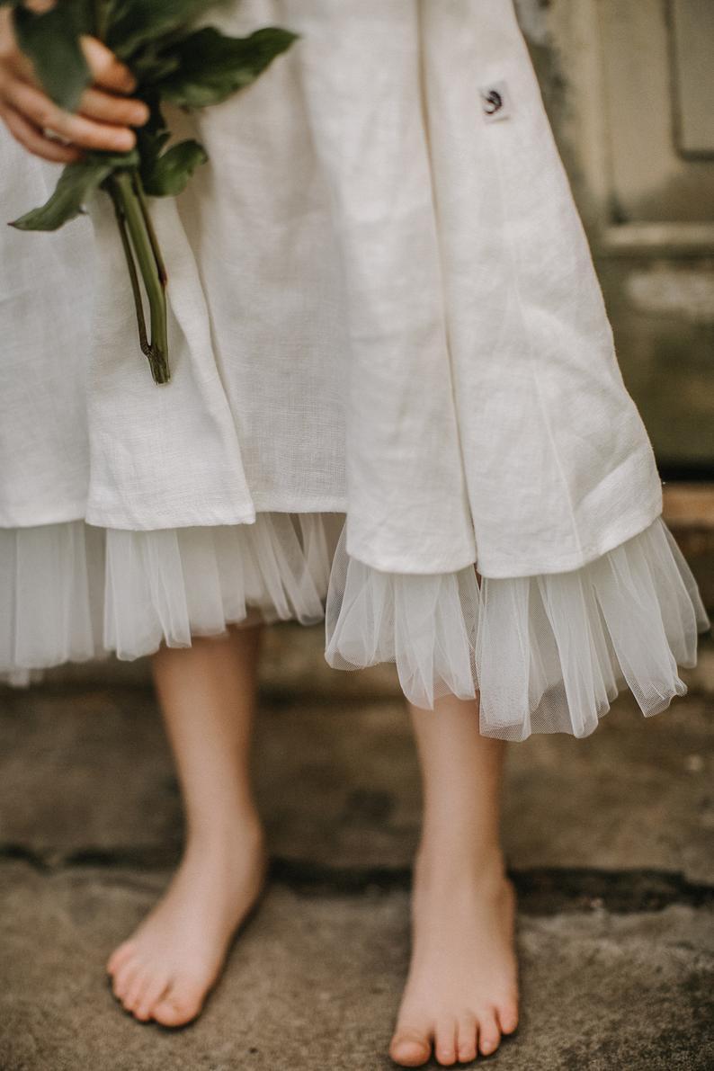 Hochzeit Blumenmädchen Kleid Mit Tüll Sommer Leinen Kleid