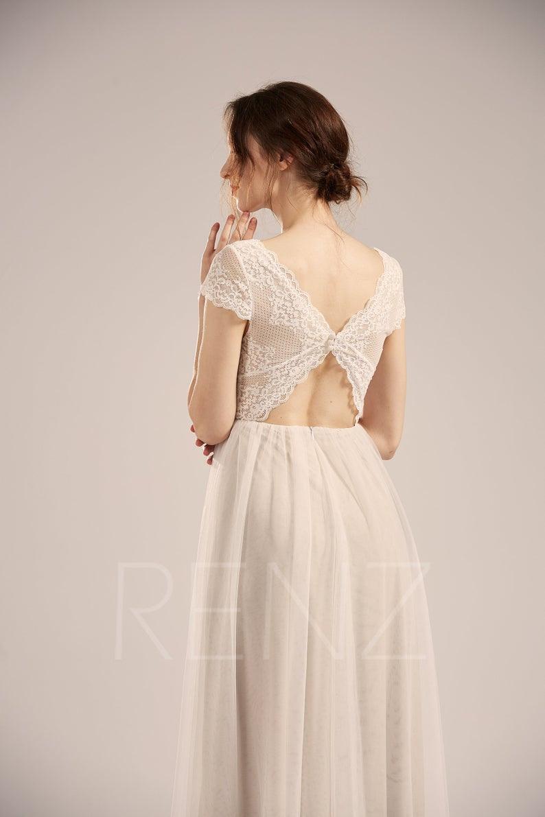 Hochzeit Kleid Boho Off Weiße Spitze Braut Kleid Illusion