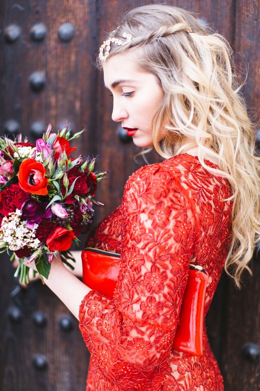 Hochzeit Rotes Kleid Brautmutter  Abendkleid