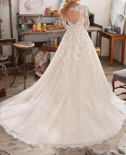 Hochzeitskleid A Linie Lange Ärmel Elfenbein  Mode Ja