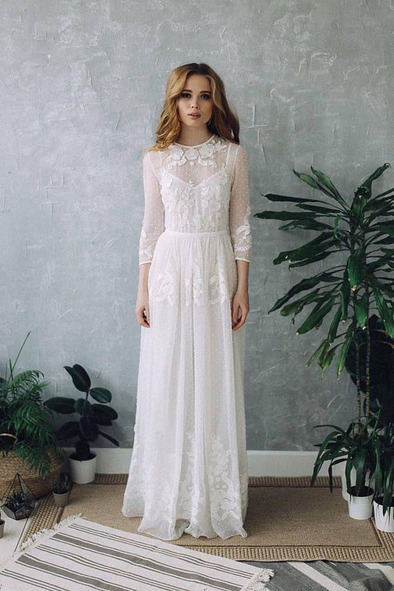 Hochzeitskleid D0101  Hochzeit Boho Kleid Brautkleid Mit
