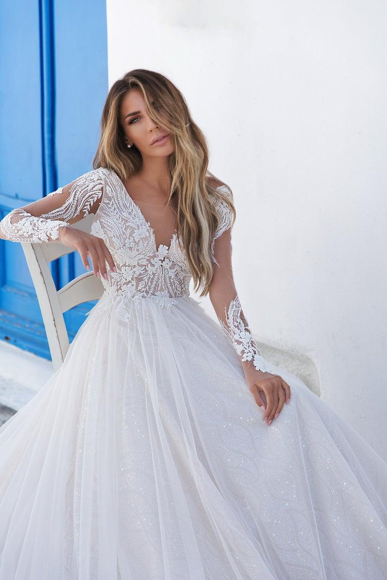 Hochzeitskleid Langarm Hochzeitskleid Eine Linie Offen