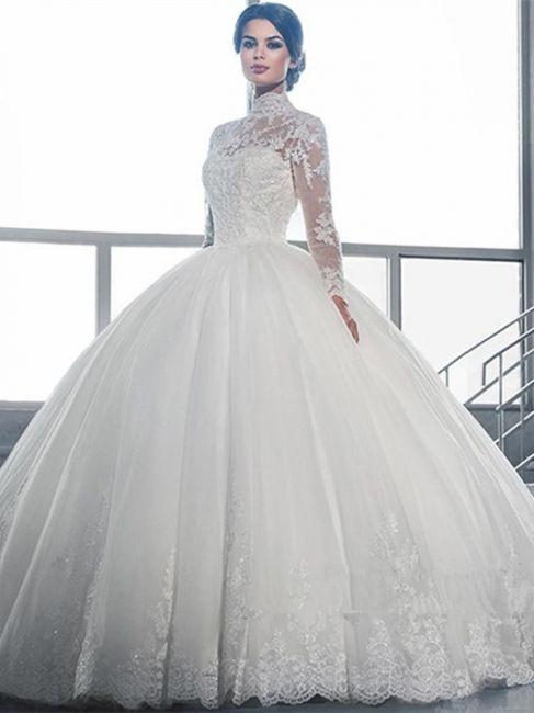 Hochzeitskleid Lange Armel  Brautkleider Prinzessin Mit