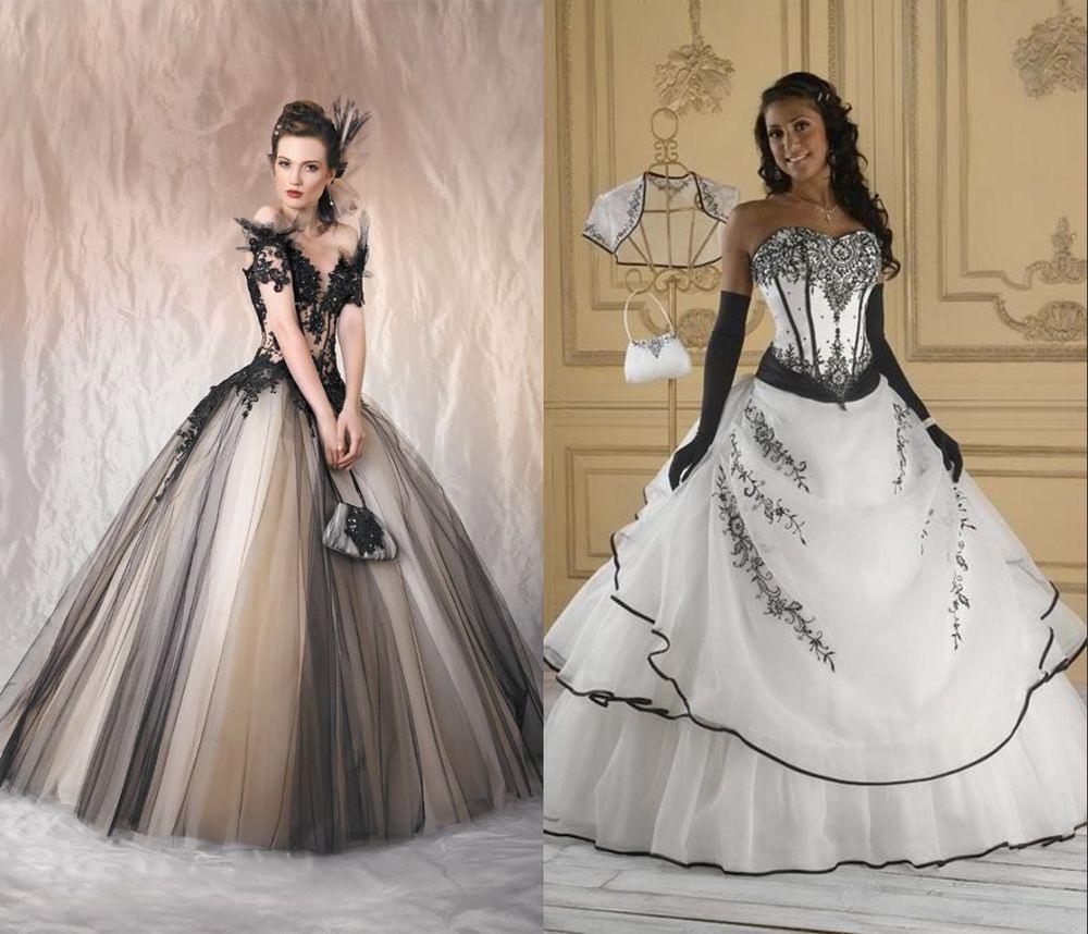Hochzeitskleid Schwarz/Weiß Kleid Abendkleid Stickerei