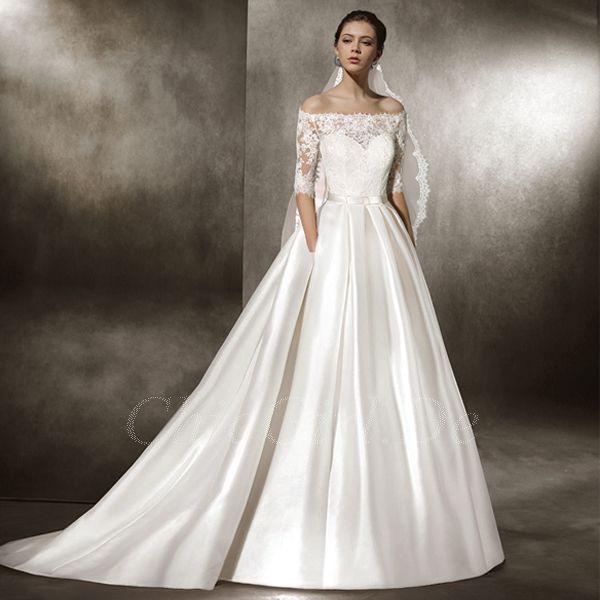 Hochzeitskleid Winter Schlicht  Hochzeittrauungparty