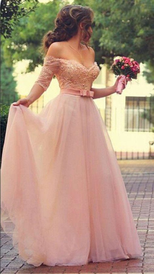 Hochzeitskleider Spitze Tüll Lovely Rosa Brautkleider Lang