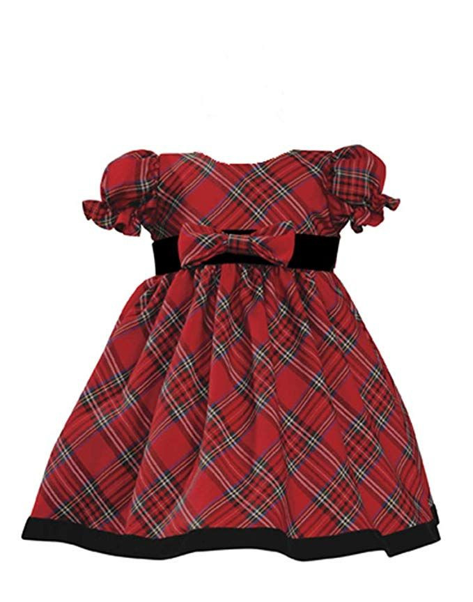Holiday Christmas New Year'S Girl'S Dress Red Plaid Infant