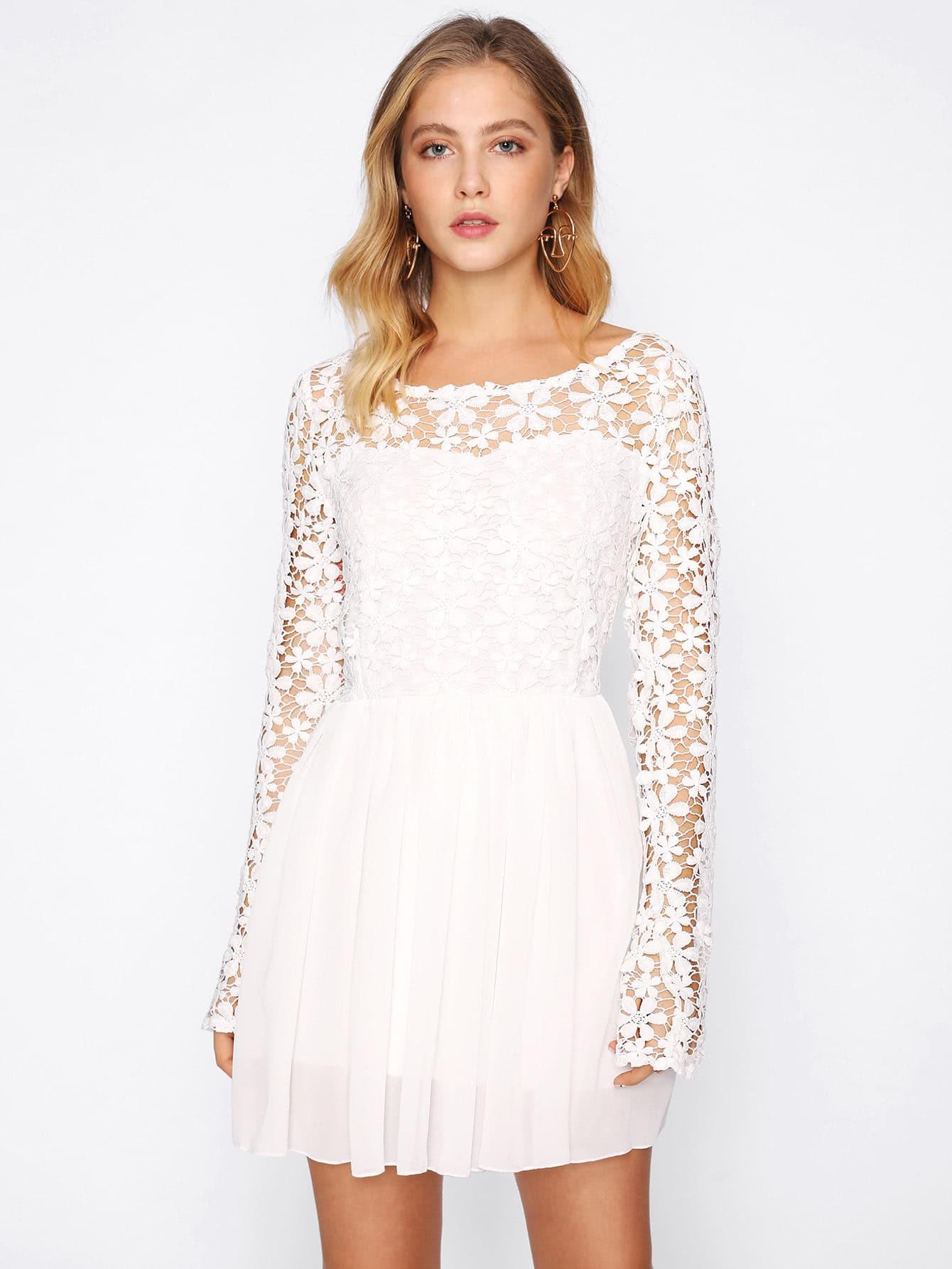 Hollow Out Crochet Panel V Back Swing Dress Sheinsheinside