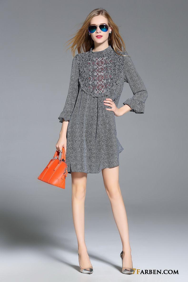 Horn Damen Streifen Feder Herbst Mode Trend Beige Kleider