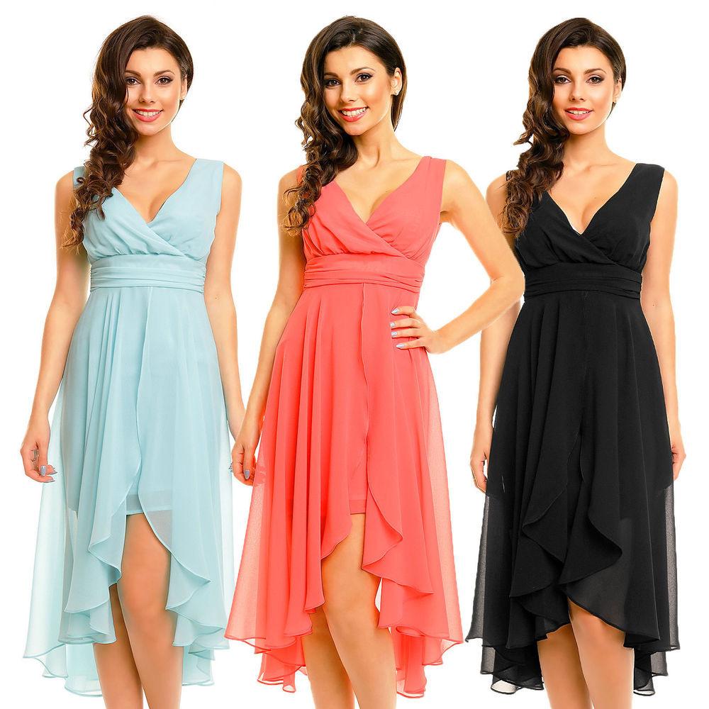 Hs256 Mayaadi Abendkleid Kleid Party Vokuhila Chiffon