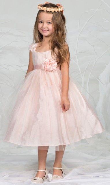 Hübsches Kleid Hannah Apricot Rosa Für Mädchen Mit Tollem