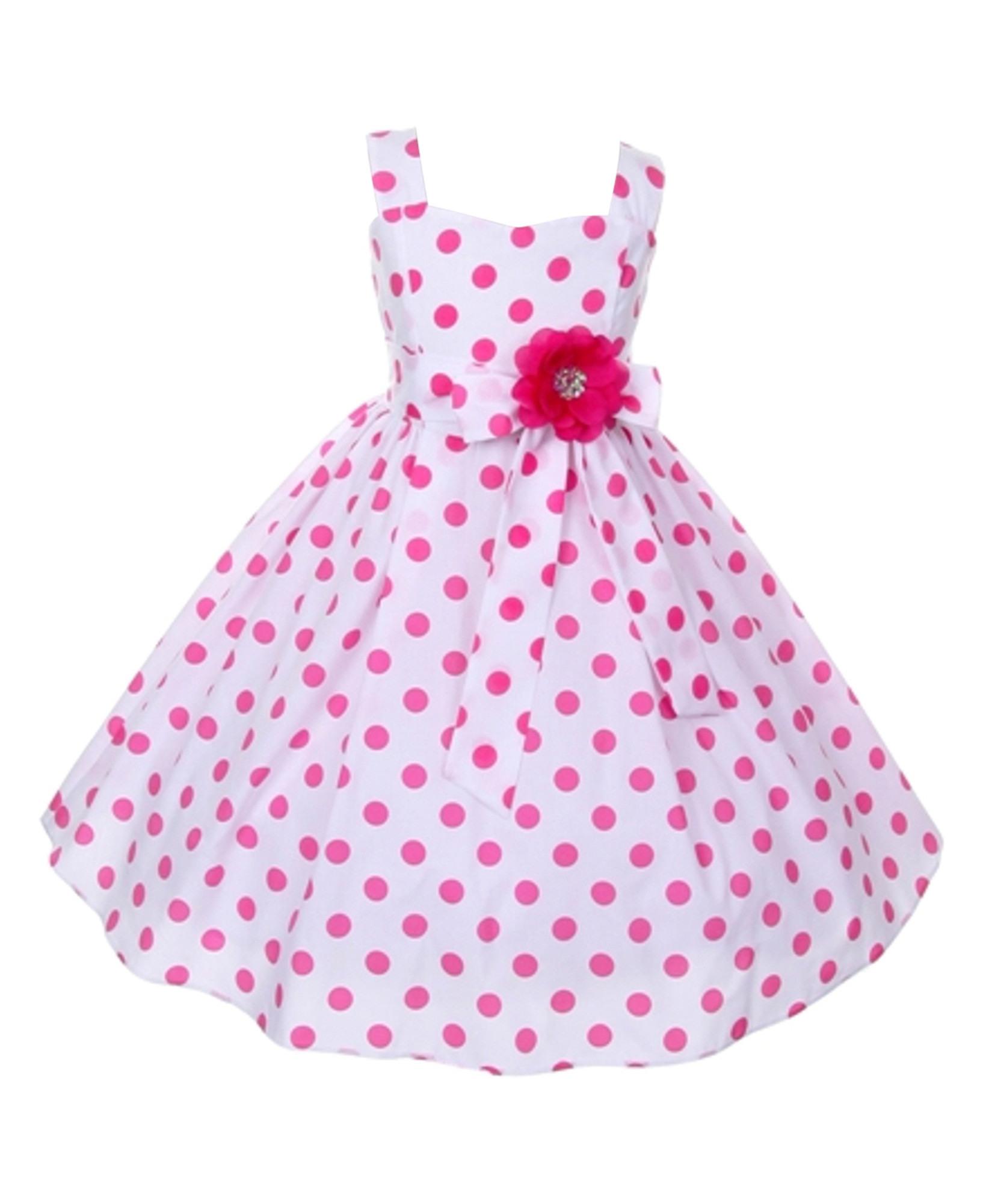 Hübsches Mädchenkleid Emilia Kleid Weiß Punkte In Pink