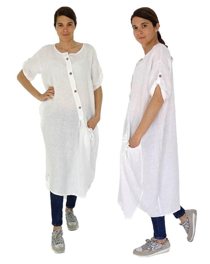 Hz100W Damen Kleid Leinen Tunika Hemd Longtunika Vintage