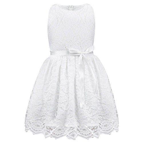 Iefiel Baby Mädchen Kleid Blumenspitze Prinzessin Party K