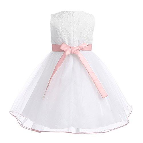 Iefiel Babybekleidung Babymädchen Kleid Weiß Taufkleid