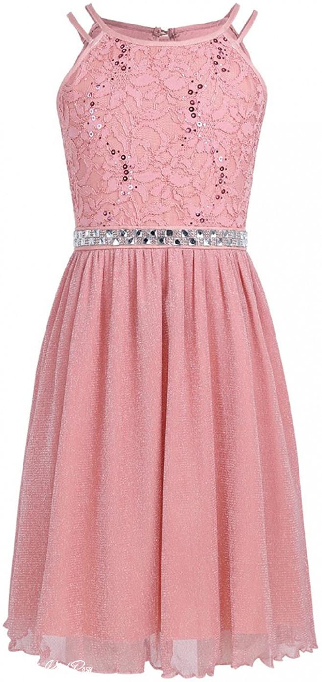 Iefiel Festliches Kleid Mädchen Kinder Spitzen Kleid