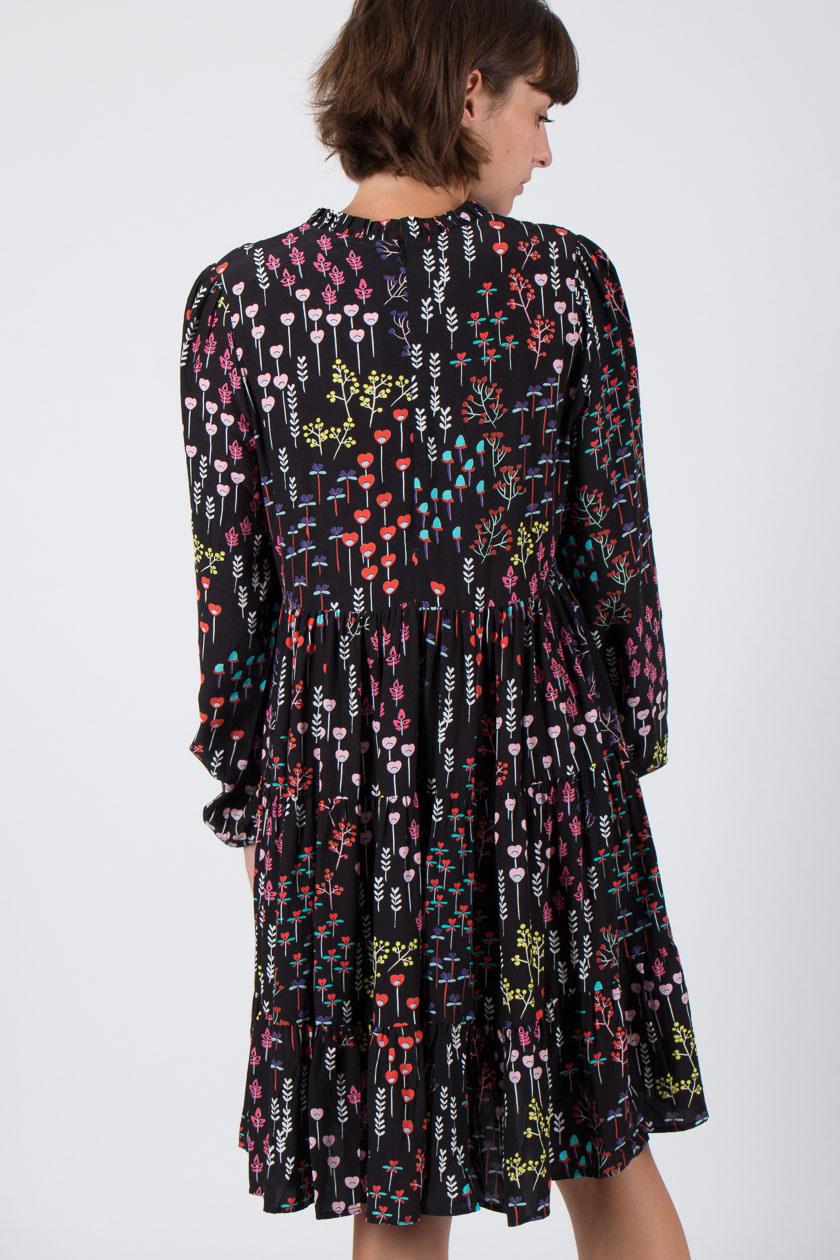 Iheart 32101 Ariane Kleid Frauen Herzblumen Schwarz  P2