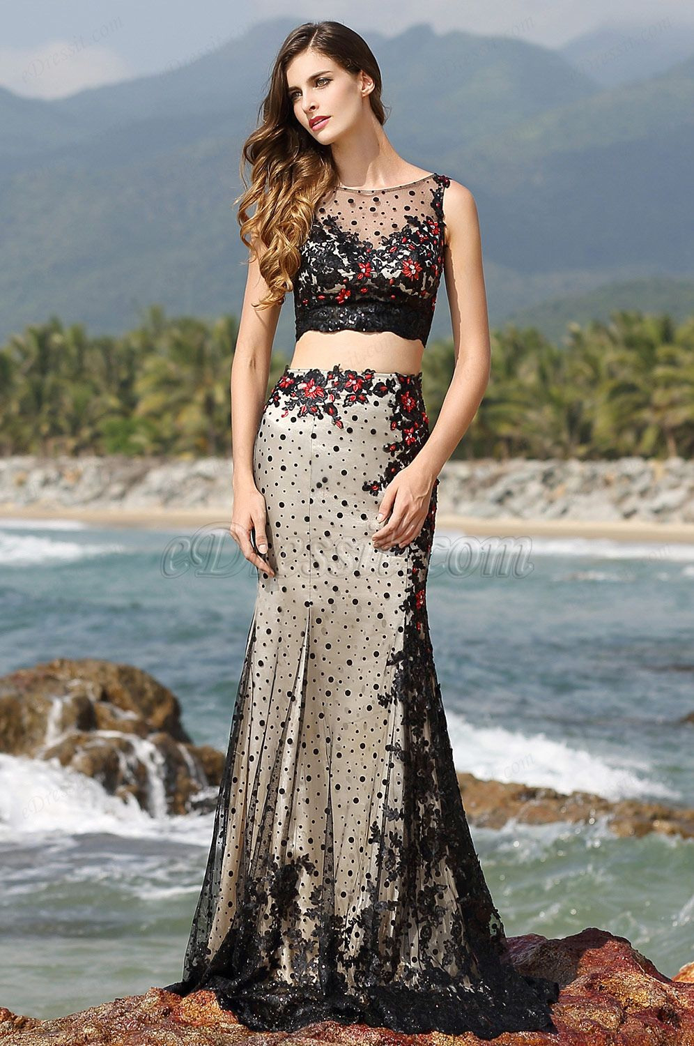 Illusion Sweetheart Neck Two Piece Black Evening Gown Prom