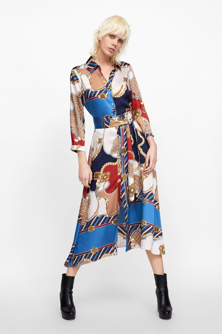 Image 1 Of Chain Print Dress From Zara  Lange Hemdkleid