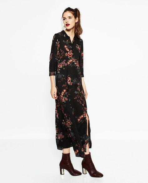 Image 1 Of Long Printed Dress From Zara  Lange Hemdkleid
