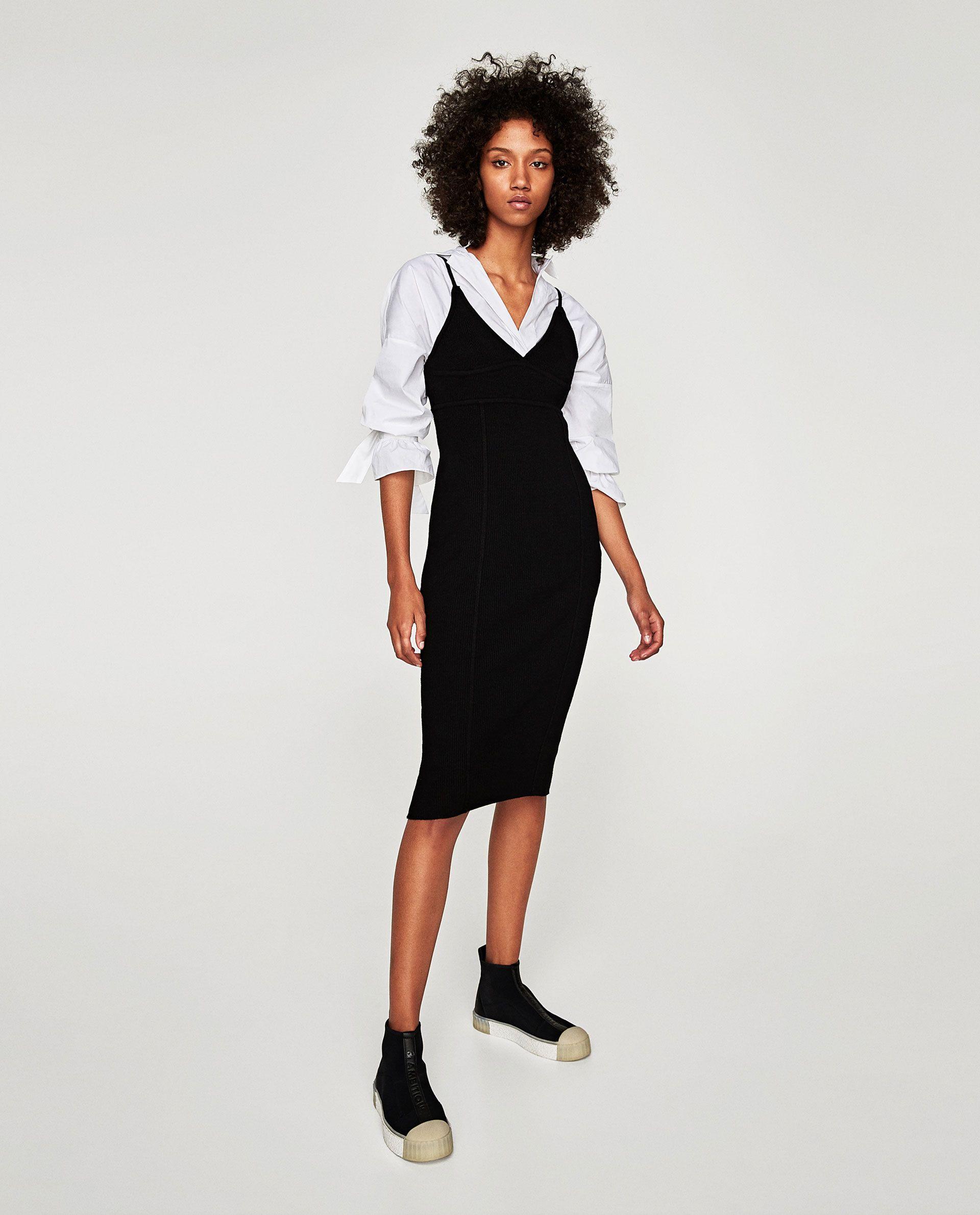 Image 1 Of Long Ribbed Dress From Zara  Kleider Für