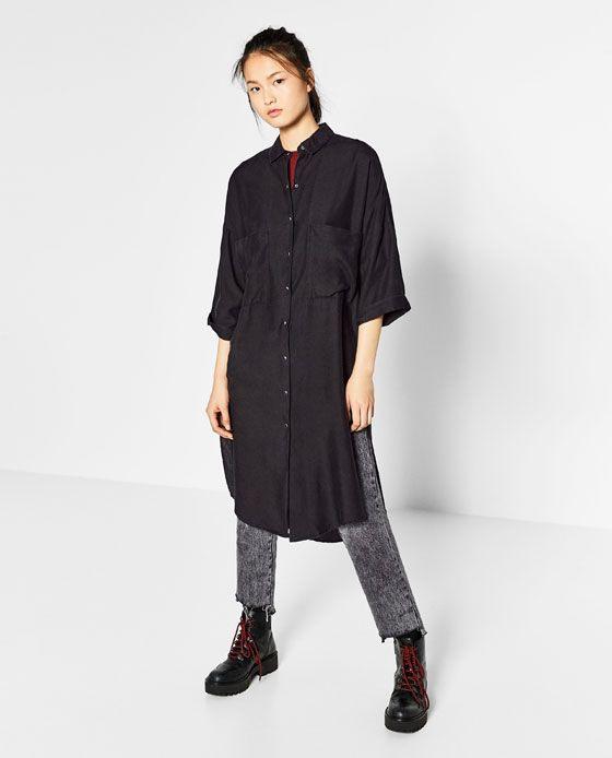 Image 1 Of Long Shirt Dress From Zara  Lange Hemdkleid