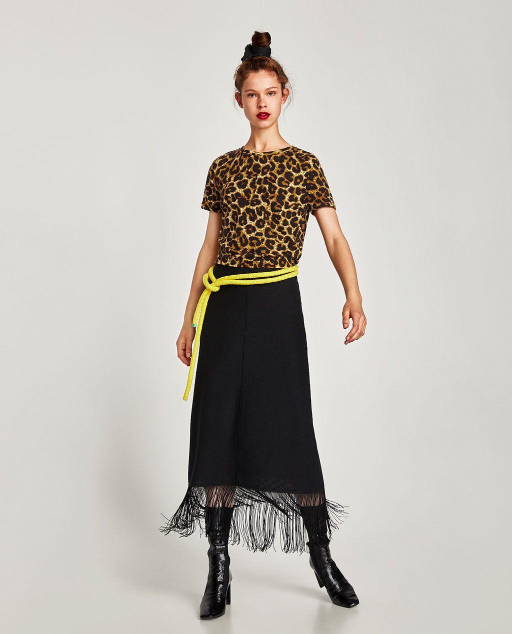 Image 1 Of Printed Top From Zara  Denim Tees Fashion Shirts